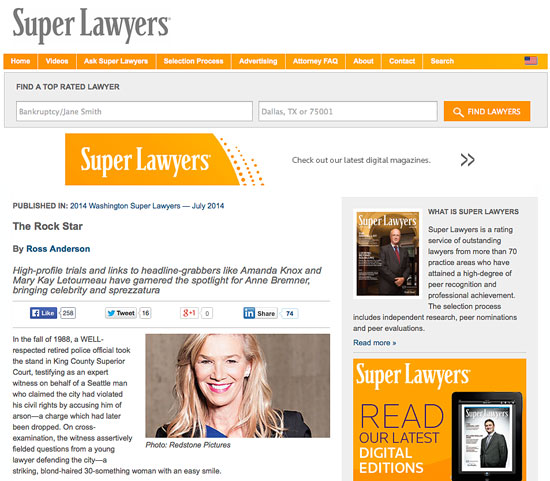 Super Lawyers article on Anne Bremner titled Rock Star